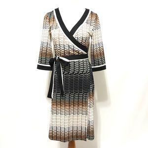 Alyn Paige Wrap Dress S Knee Faux Office Sleeve By